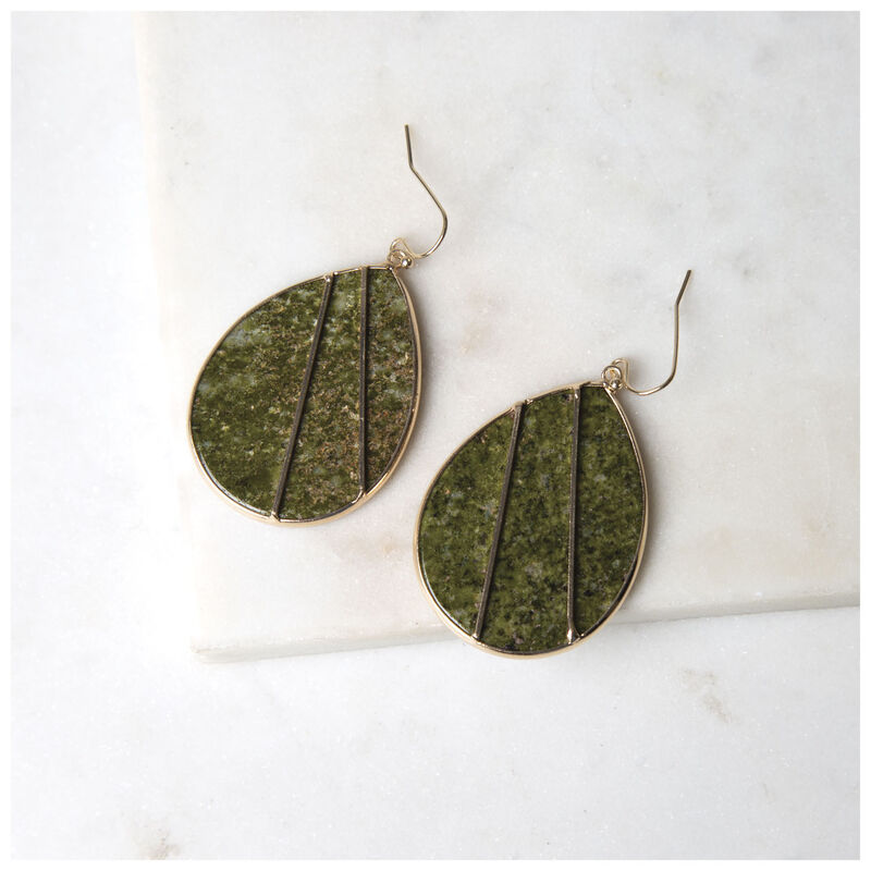 Stone Inset Leaf Earrings -  gold-green