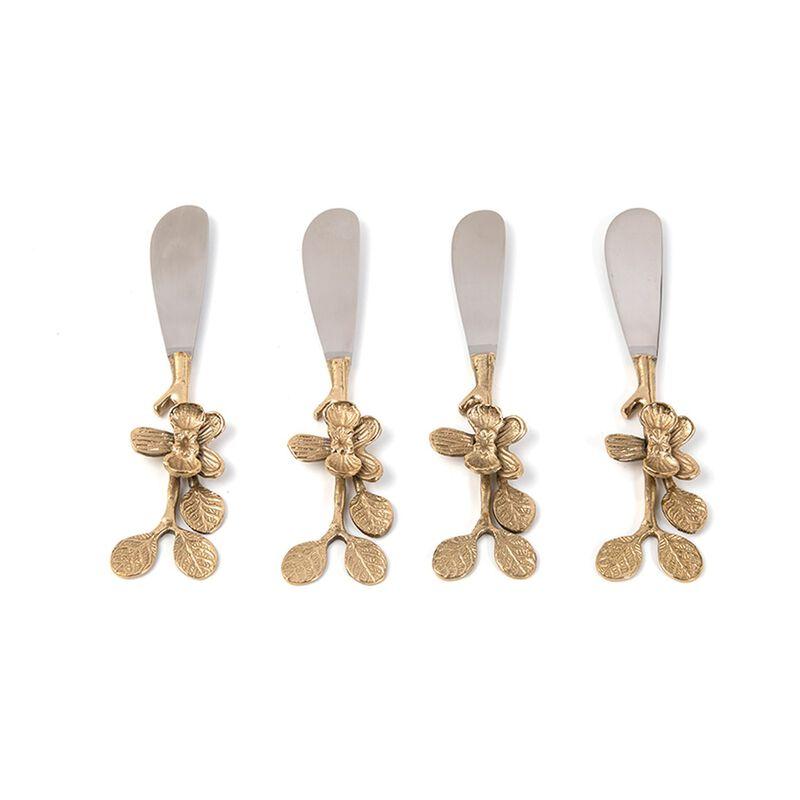 Gold Flower Spreader Set of 4 -  gold