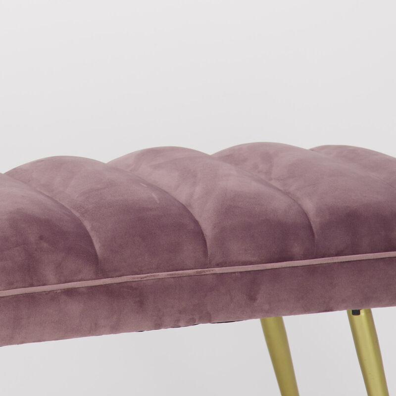 Soft Pink Velvet Bench -  pink-gold