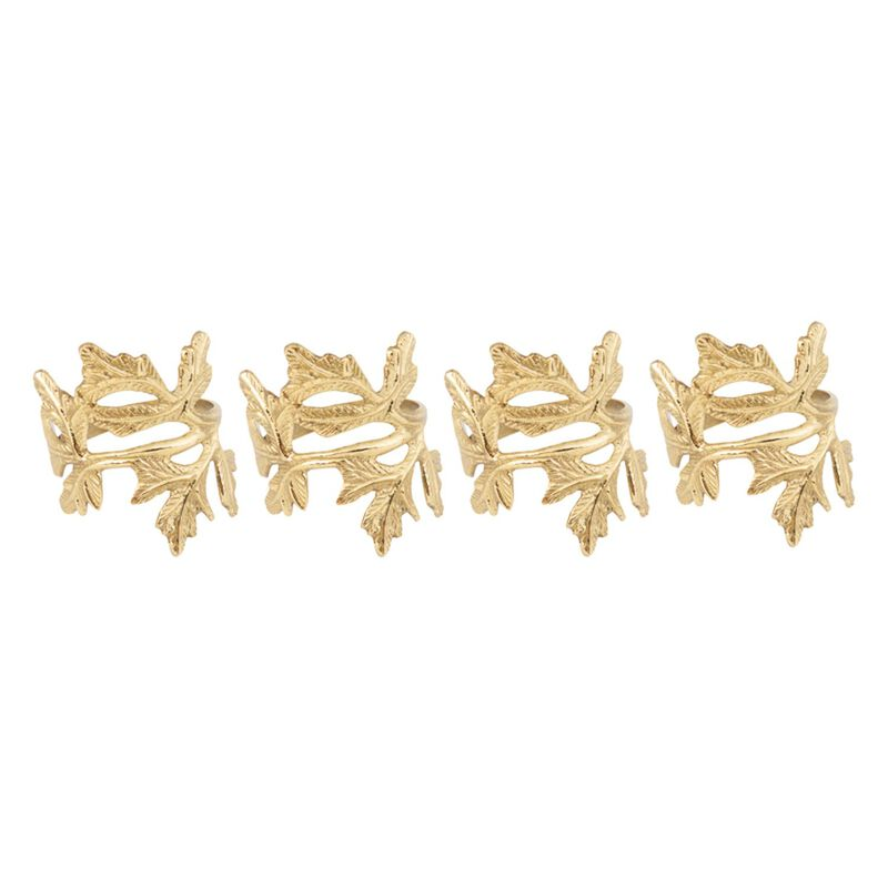 Leaf Napkin Holder Set -  gold