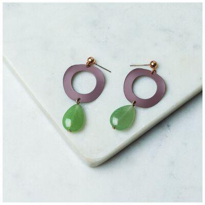 Wavy Circle & Stone Drop Earrings