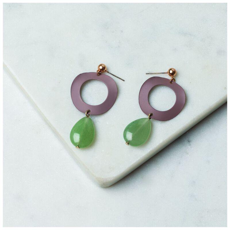 Wavy Circle & Stone Drop Earrings -  pink-sage