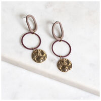 Coated Link Hoop Earrings -  gold-brown