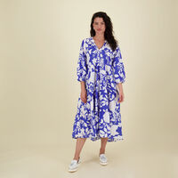 Emma Printed Resort Dress -  blue
