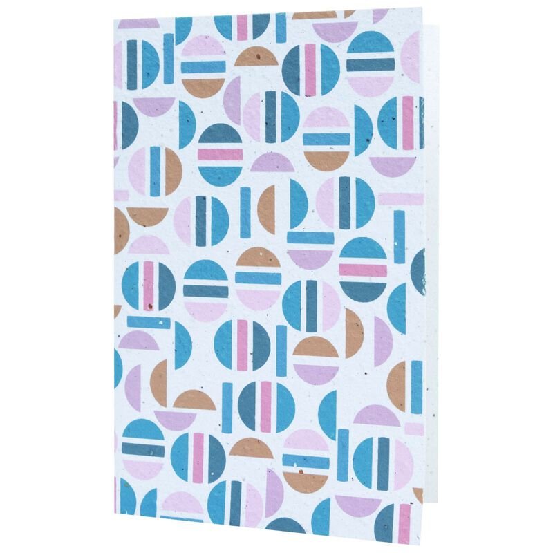 Round Abstract Card -  blue-assorted