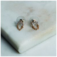Delicate Arched Chain Stud Earrings -  gold