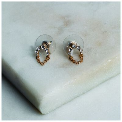 Delicate Arched Chain Stud Earrings