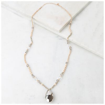 Bead & Real Stone Pendant Necklace