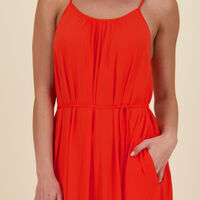 Quincy Tiered Dress -  coral