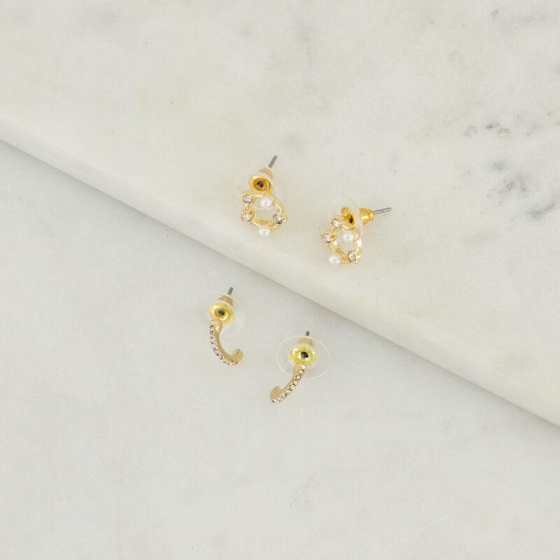 Circle Stud & Huggie Earring Set -  gold