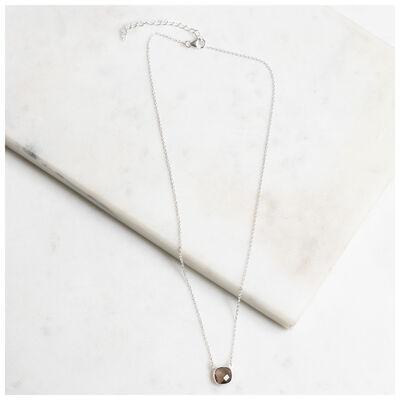 Silver & Smokey Quartz Cushion Drop Necklace