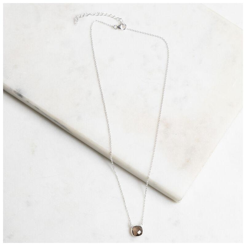 Silver & Smokey Quartz Cushion Drop Necklace -  silver-charcoal