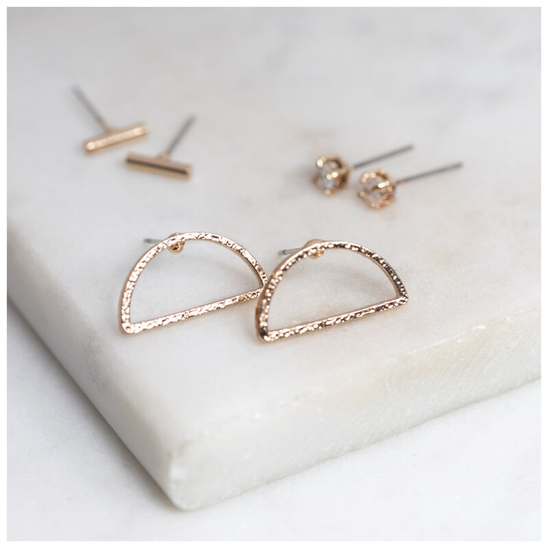 Geometric Stud Earrings  -  gold