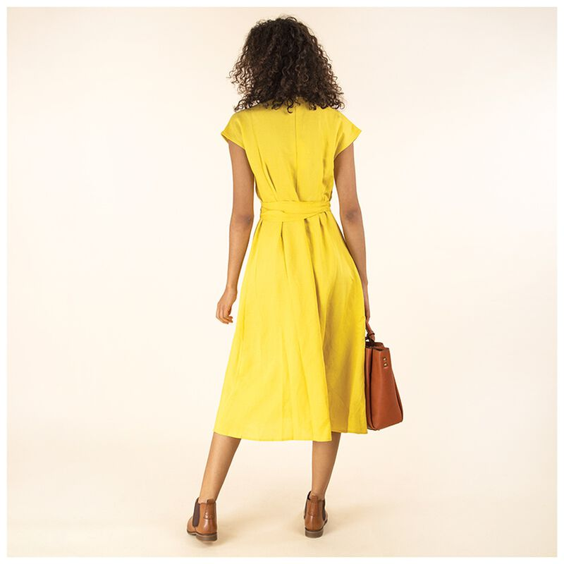 Abnoba Linen Dress -  yellow