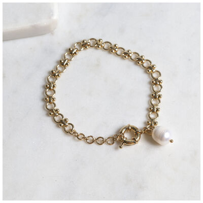 Freshwater Pearl & Chain Bracelet