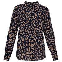 Sarah Animal Print Blouse -  navy