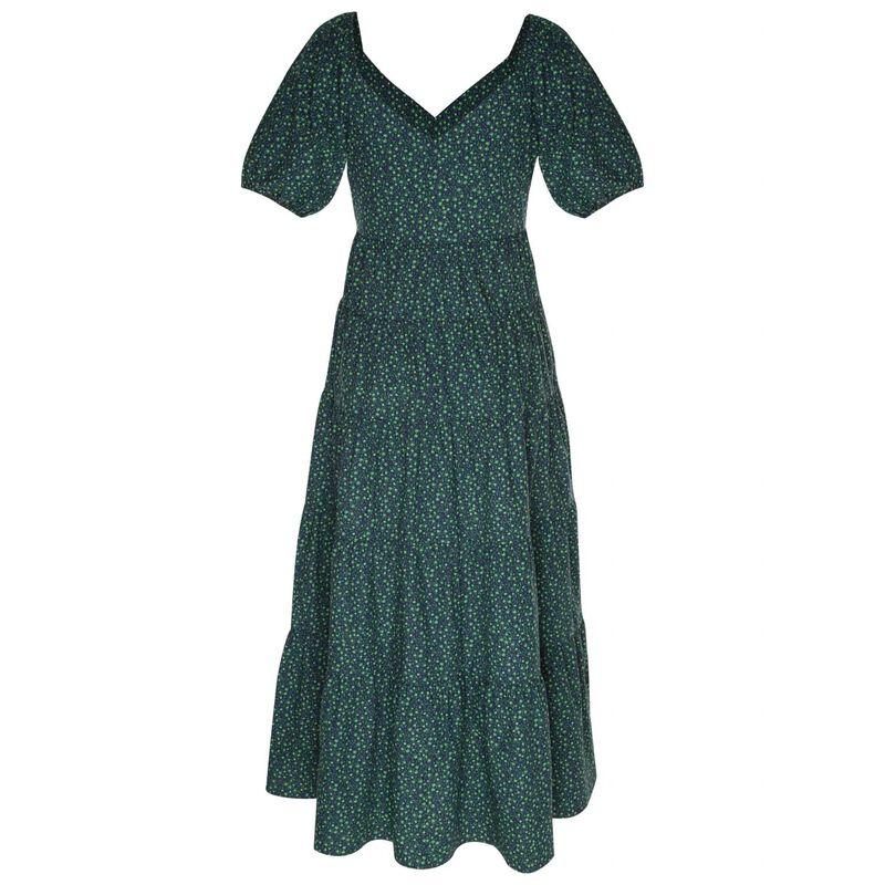 Fleur Fit & Flare Dress -  green