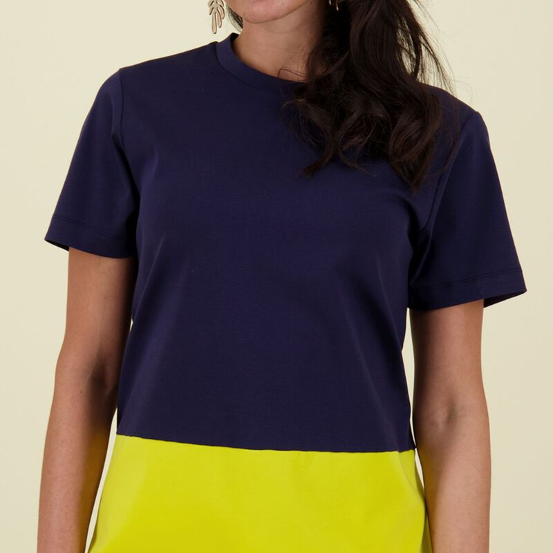 Jean Colourblock Dress -  navy