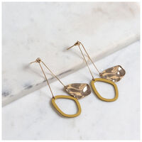 Geometric Leaf Drop Earrings -  gold-yellow