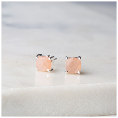 Silver & Peach Moonstone Stud Earrings