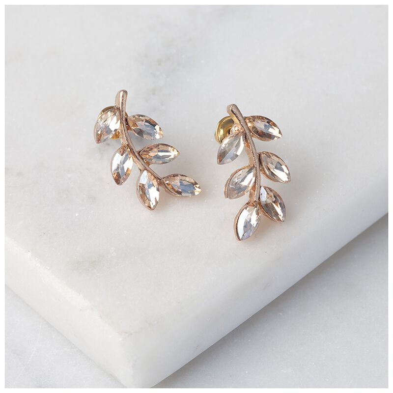 Paste Leaf Earrings -  gold-gold
