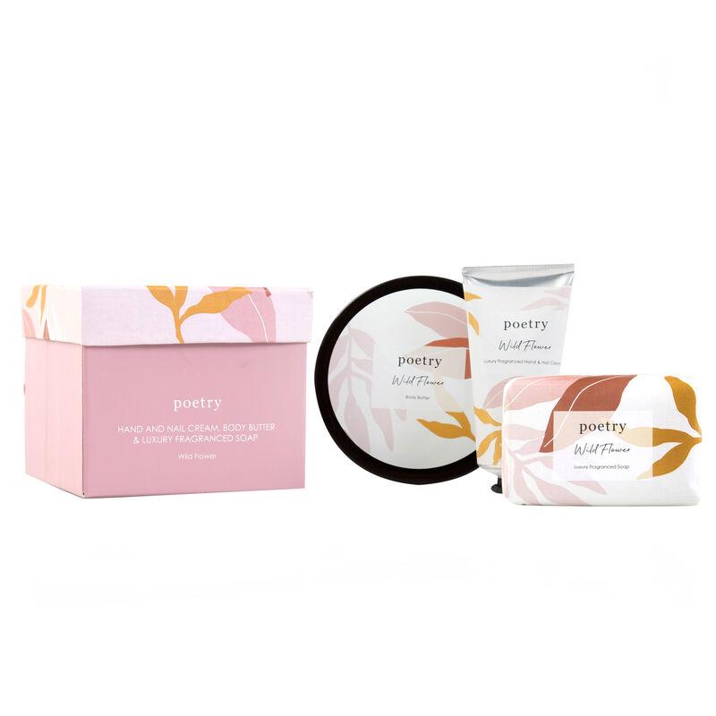 Wild Flower Body Butter, Hand Cream & Soap Gift Set -  pink-ochre