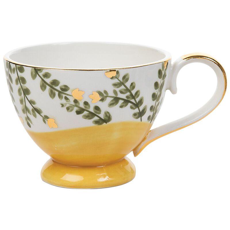 Kapula Ochre & Green Leaves Mug -  ochre-green