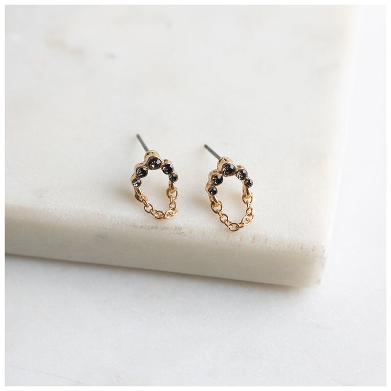 Delicate Arched Chain Stud Earrings -  black