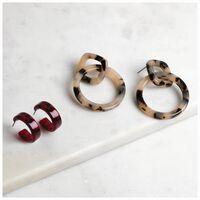 2-Pack Resin Earrings  -  red-assorted