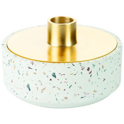 White Terrazzo Candleholder and Trinket Box