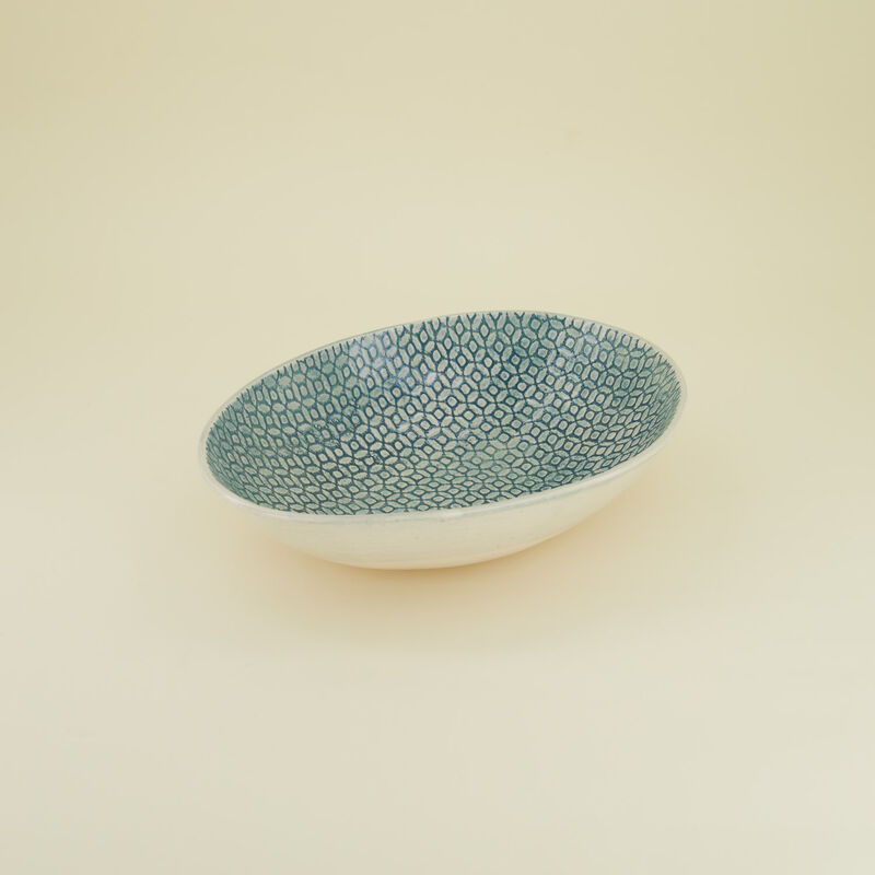 Large Teal Olivia Etosha Pattern Bowl  -  teal