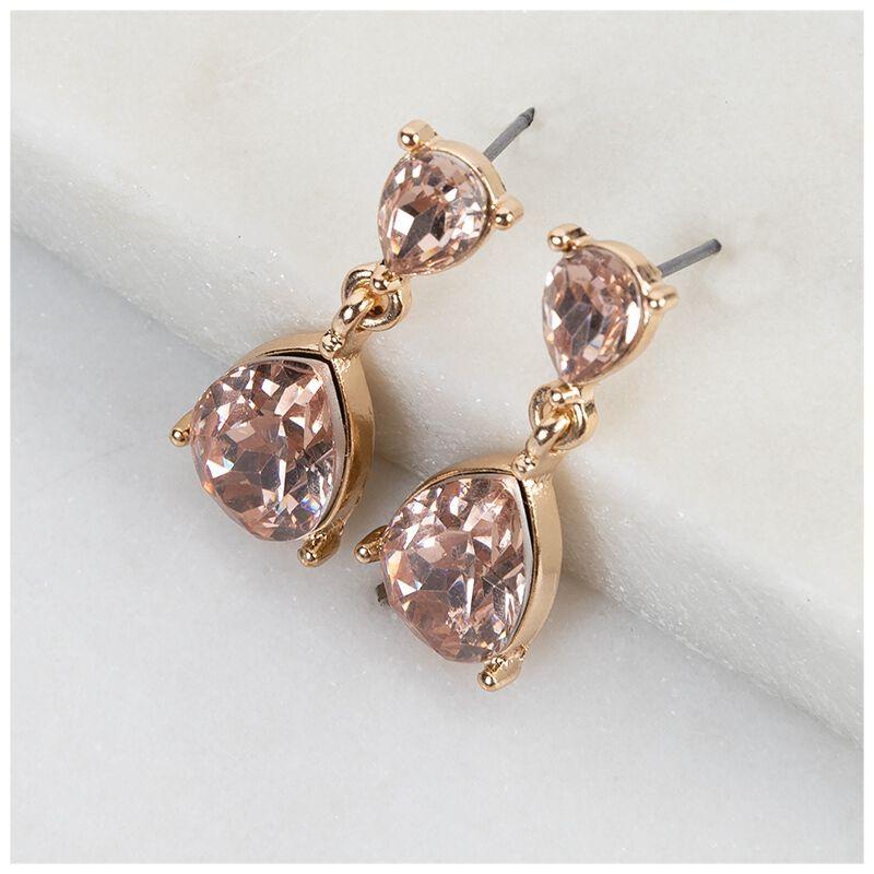 Basic Teardrop Earrings -  gold-pink