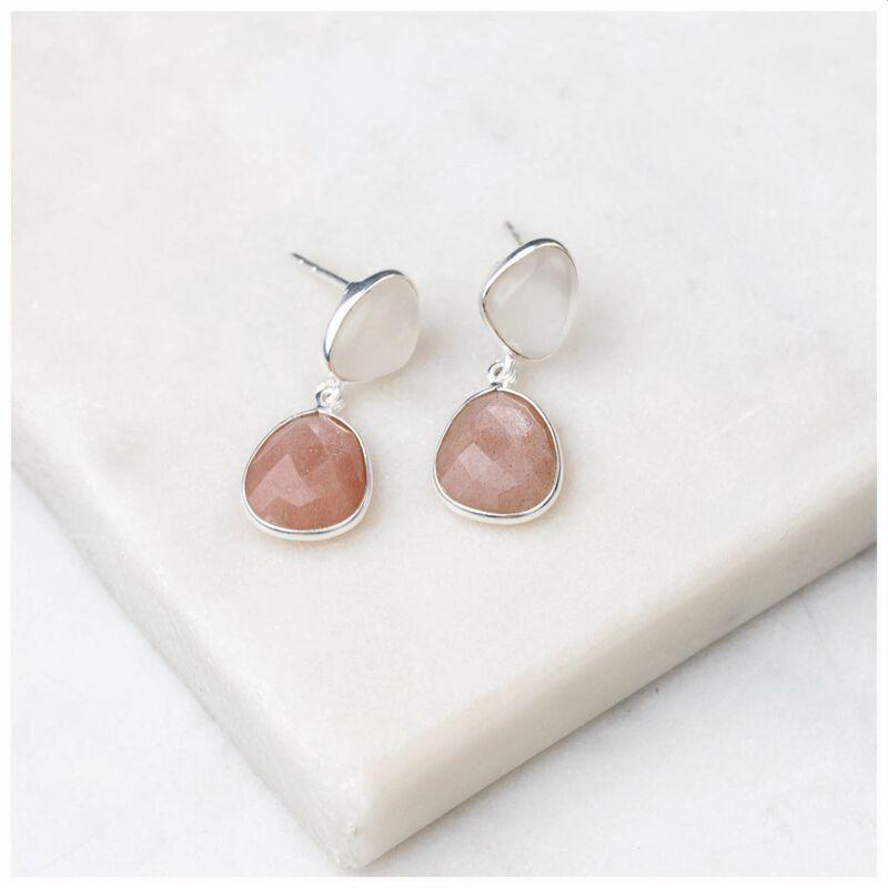Organic Moonstone Double Drop Earrings -  pink-silver