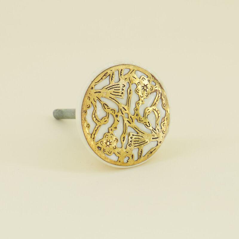 Golden Grate Knob -  gold-bone