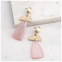 Triangle & Halfmoon Drop Earrings -  lightpink-gold