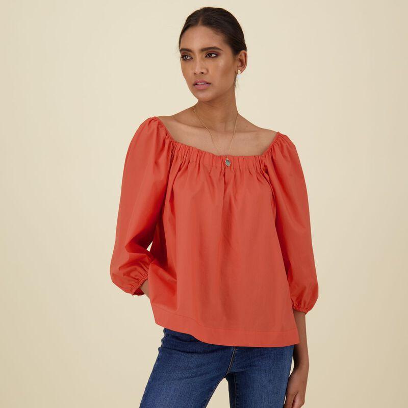 Corinne Cotton Top -  orange