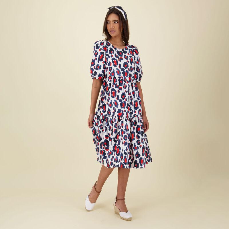 Poppy Tiered Dress -  navy