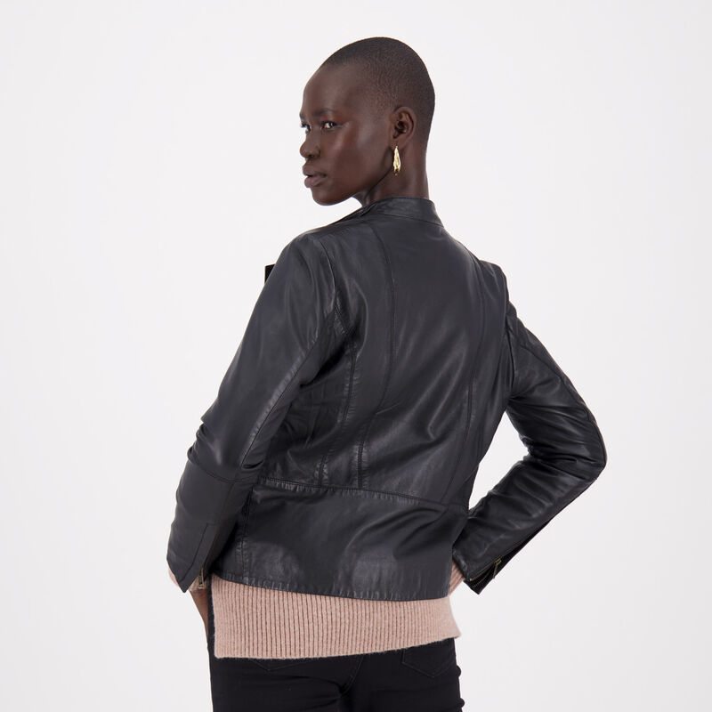Jenna Leather Jacket -  black