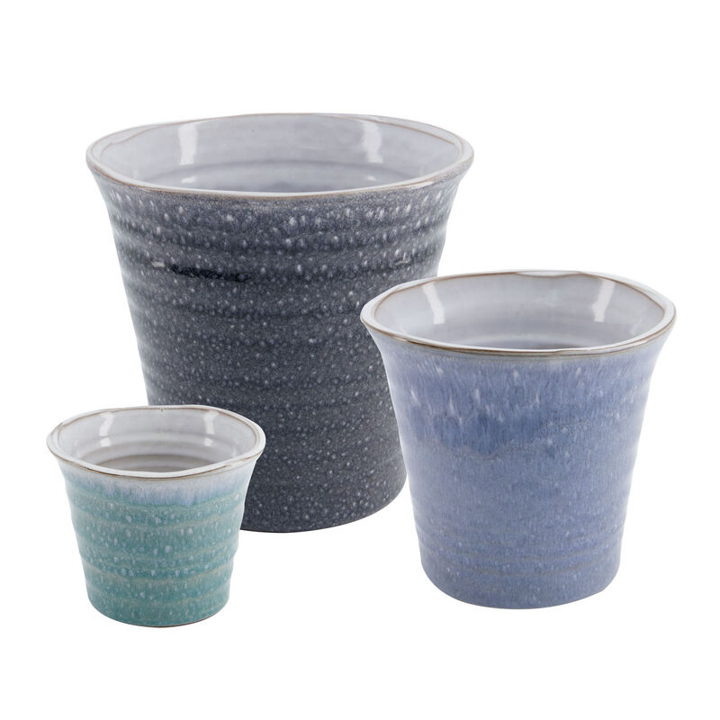 Medium Blue Mottled Planter -  blue