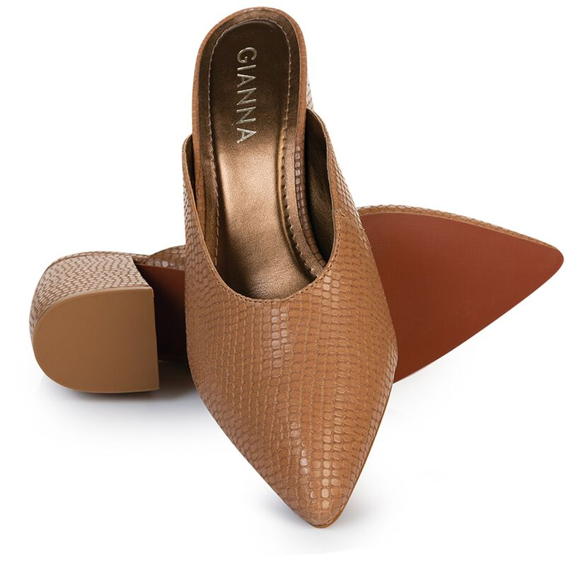 GIANNA Ladies Curved Block Mule -  taupe