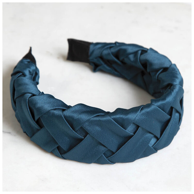 Plaited Sateen Alice Band -  teal