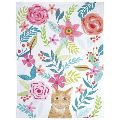 Floral Cat Tea Towel