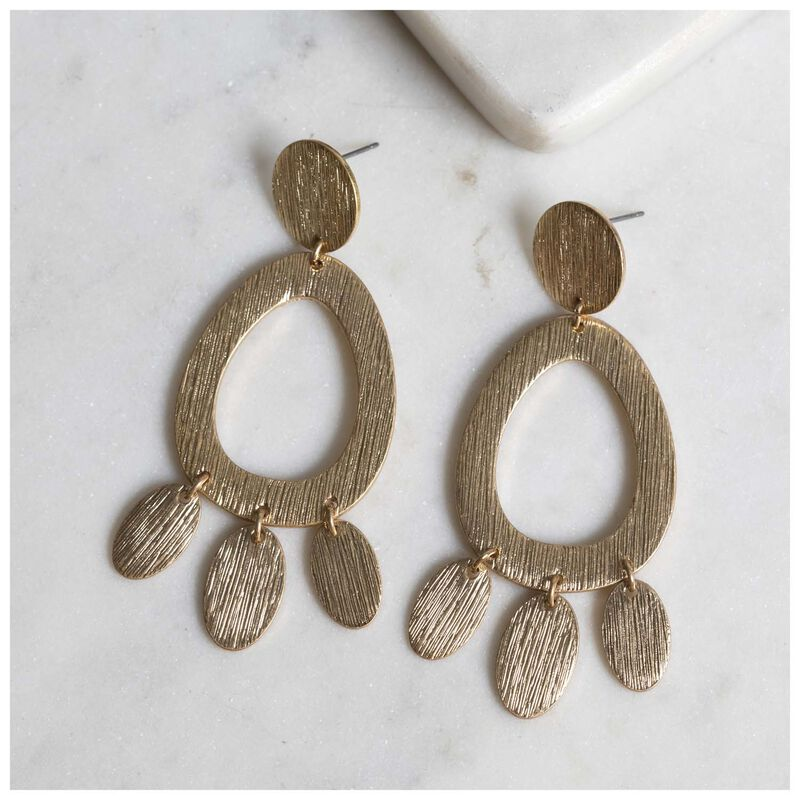 Brushed Teardrop Earrings -  gold