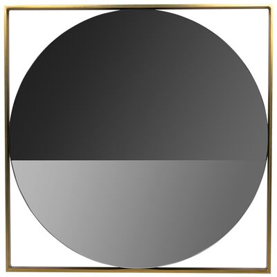 Round Smoked Wall Mirror with Brass Frame