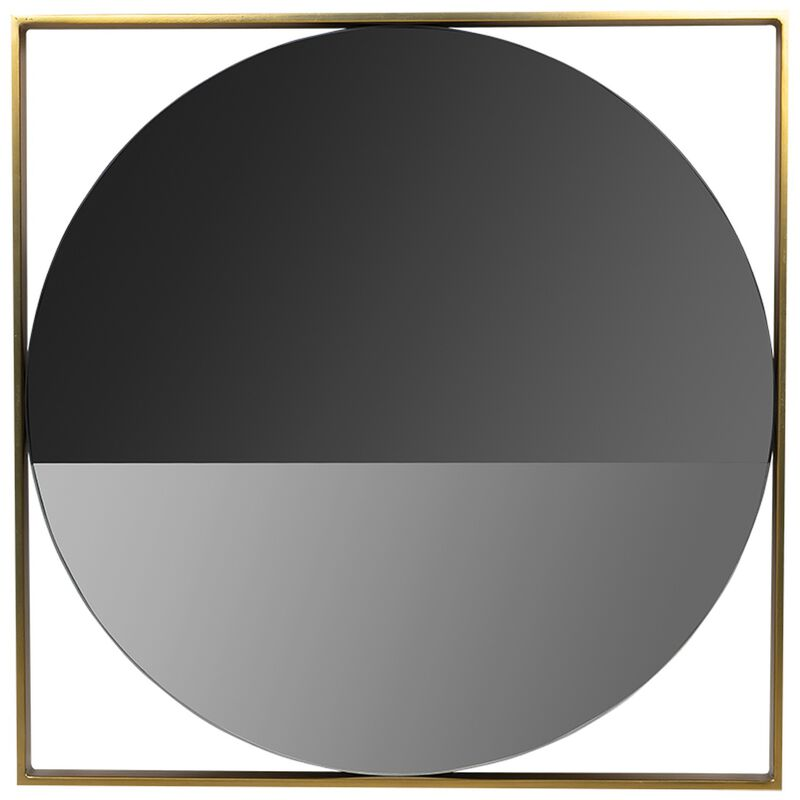 Round Smoked Wall Mirror with Brass Frame  -  white-gold