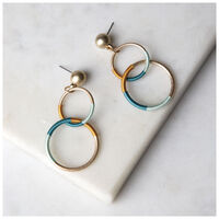 Linking Threaded Drop Earrings -  assorted-gold