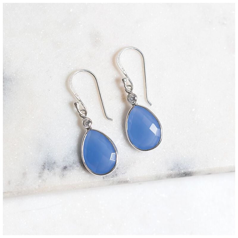 Blue Chalcedony & Silver Teardrop Earrings -  silver-blue