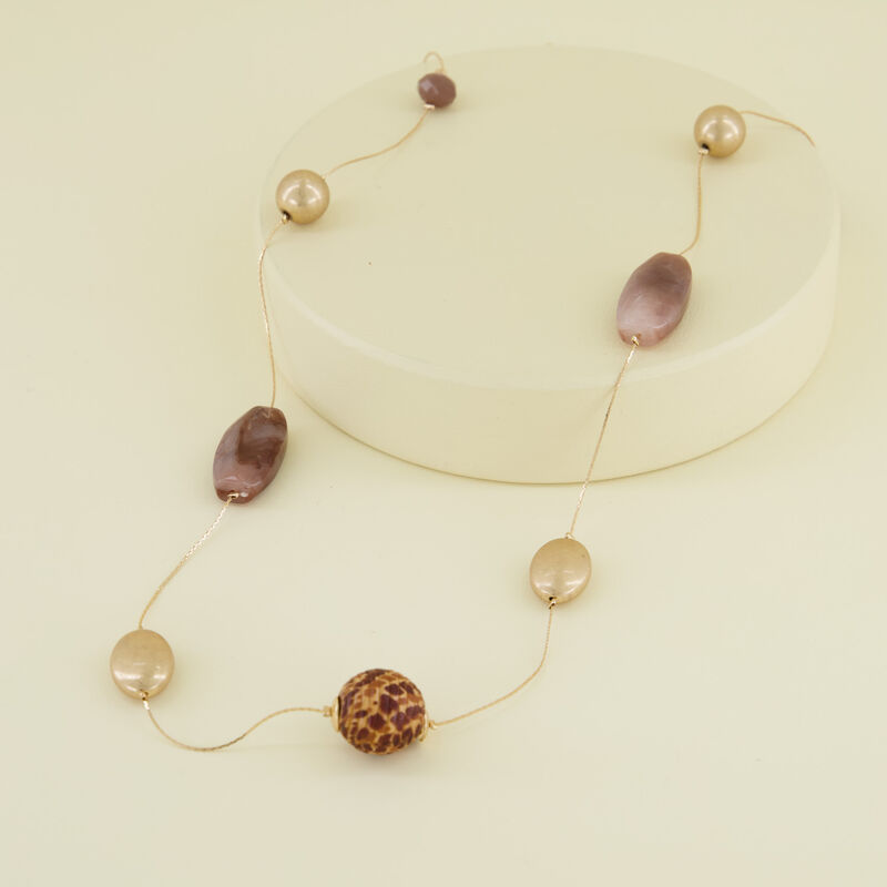 Stone Bead Satellite Necklace -  gold-brown