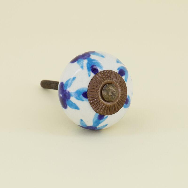 Blues Floral Knob -  blue-white