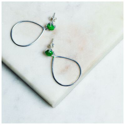 Emerald & Silver Teardrop Earrings